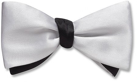 White / Black Charmeuse - bow tie